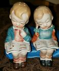 Studying Choir Boy And Girl Sitting with Books Salt And Pepper Shakers
