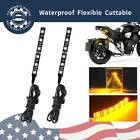 2pcs Motorcycle 6-LED Amber Tail Light Turn Signals for Bobber Racer Brake Strip