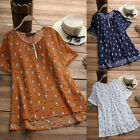 Womens O Neck Cat Print T shirts Short Sleeve Blouse Loose Tunic Tops Plus Size