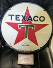 Old Original Dbl Sided Tin Texaco Motor Oil Gas Sign 1957 TAC Authentic w COA