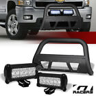 Matte Black Studded Mesh Bull Bar36w Cree Led Lights For 07-10 Silverado 2500