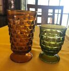 VINTAGE Footed AMBER AND GREEN Glass Tumbler Cubist Drinking Goblet Indiana