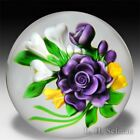 Victor Trabucco 1987 purple rose bouquet glass paperweight