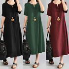 Women's Casual Baggy Boho Cotton Linen Maxi Long Dress Holiday Kaftan Plus Size