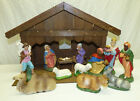 Vtg 12 Pc Paper Mache Composition 6 Nativity Figures  Manger West Germany Putz