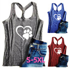 Women Dog Paw Love Tank Tops Dog Mom Shirt T shirt Sleeveless Top Vest Plus Size