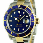 ROLEX 18kt Gold & Stainless Steel Submariner Blue No Holes SEL 16613 SANT BLANC