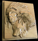 Wood carved picture wall decoration plaque Wolf Eagle Native American