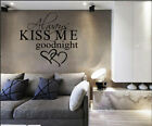 Always KISS ME Goodnight Double Heart Quote Art Words Wall Sticker Decal UK 285