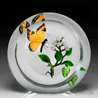 Victor Trabucco 1996 monarch butterfly and cocoon upright glass paperweight