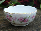 Pretty White Porcelain Open Salt Dip Cellar Dish w Pink Roses Gold Rim