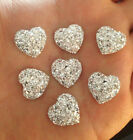 DIY 20PCS Silver Resin Heart flatback Scrapbooking for phone wedding craft A2