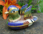 Colorful Cloisonne Figural Duck Open Salt Dip Cellar Dish w Wings