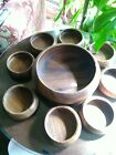 Vintage wooden salad bowl set 12 round large bowl 8 6serving bowls