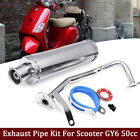 Chrome GY6 50CC Scooter High Performance Exhaust Muffler Pipe Slip On