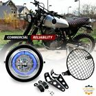 65 LED MOTORCYCLE HEADLIGHT w Blue Halo Ring Mount Brackets Grill Assemblies