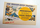 1939 WALT DISNEY MICKEY MOUSE SUNOCO MOTOR OIL ADVERTISING SIGN PENNY POSTCARD
