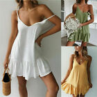 Women's Summer V Neck Boho Short Evening Party Cocktail Dresses Beach Sundress
