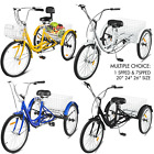 20 24 26 Adult Tricycle 1 7 Speed 3 Wheel For Shopping W Installation Tools
