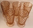 * Set of 5 * Indiana Glass Whitehall Pink Footed Tumblers 6