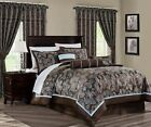 Tuscany 7 Piece Blue Brown Paisley Floral Jacquard Comforter or 4pc Curtain Set