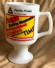 VTG Pacific Press Time People Magazine Milk Glass Pedestal Footed Coffee Cup Mug
