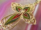 14k Yellow Gold Enamel Inlay 15 CROSS PENDANT Stained Glass Look