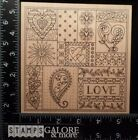 OUTLINES RUBBER STAMPS K702 XL COLLAGE BACKGROUND HEARTS LOVE VALENTINES FLOWERS