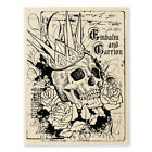 STAMPENDOUS RUBBER STAMPS CROWNED SKULL NEW wood STAMP