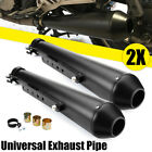 2x Universal Motorcycle Exhaust Pipe For Harley Bobbers Racing Cafe Racer Black