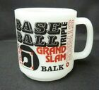 Vintage GLASBAKE Milk Glass Mug Rhubarb Baseball Grand Slam Strike Out RBI
