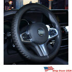 Car Steering Wheel Cover PU Leather Black&Blue Anti-Slip for 38CM/15