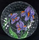 Fused Art Glass Plate ANN C ROSS Cape Cod IRISES Signed NEW