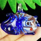 Carved Sapphire Inlaid Lampwork Glass Lovely Cat Pendant Bead D43154