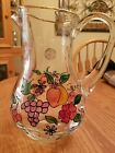 HAND PAINTED Large Glass Pitcher Fruit Design Gold Trim Romania