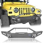 Black Front Bumper w LED Lights  Winch Plate for 1987 2006 Jeep Wrangler YJ TJ