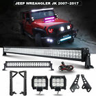 For Jeep Wrangler JK 52 700W CREE LED Light Bar +22 +4 18W+Mount Bracket