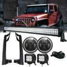 For Jeep Wrangler JK 52 LED Light Bar w Bracket+ 7inch Halo LED Headlight Kit