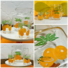 VTG 1970s Retro Modern Orange Juice OJ Federal Glass Drink Pitcher and Cups