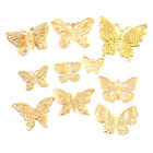 50Pcs Set Gold Metal Filigree Hollow Butterfly Charms Craft DIY Jewelry Making