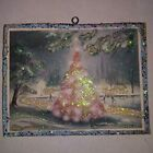 Vtg Image Pink Christmas Tree in Woods Christmas Glitter Wood Ornament