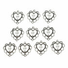 10pcs Ancient Silver Heart Christian Cross Bead Charms Pendant DIY Jewelry Gifts