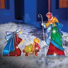 3 PIECE LIGHTED OUTDOOR CHRISTMAS HOLIDAY NATIVITY SCENE BABY JESUS