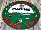 VINTAGE TEXACO MARINE GAS & OIL ADVERTISING PORCELAIN ENAMEL METAL 12