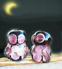 Handmade Lampwork Glass Beads Brilliant Amethyst Color Owls 15mm 4 Beads a4