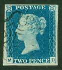 SG 6 1840 2d pale blue plate 1 lettered MD Very fine used with a lightly