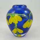 Art Glass Vase Cobalt Blue with Yellow Flowers