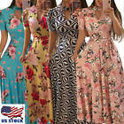2019 Women Summer Floral Print Short Sleeve Long Maxi Dress Party Beach Sundress