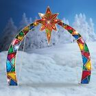 Lighted Mosaic Stained Glass Look Outdoor Christmas Arch with Star of Bethlehem