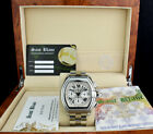 CARTIER 39mm Stainless Steel Roadster XL Chronograph White Roman 2618 SANT BLANC